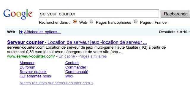 resultat google avec sitemap