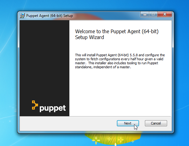 next installation puppet agent windows