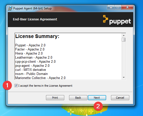 licence installation puppet agent windows