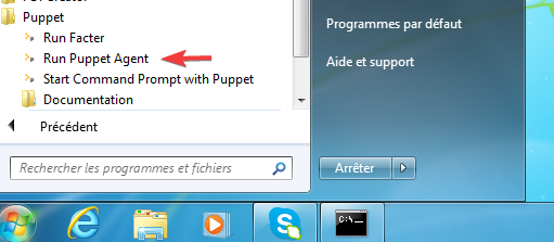 lancement puppet agent windows